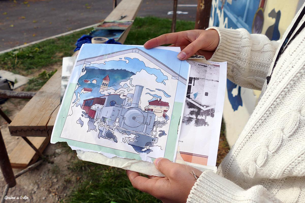 Jessica Maillot peintre muraliste urbain pour la Gare de Maillat - Graines de l' Ain